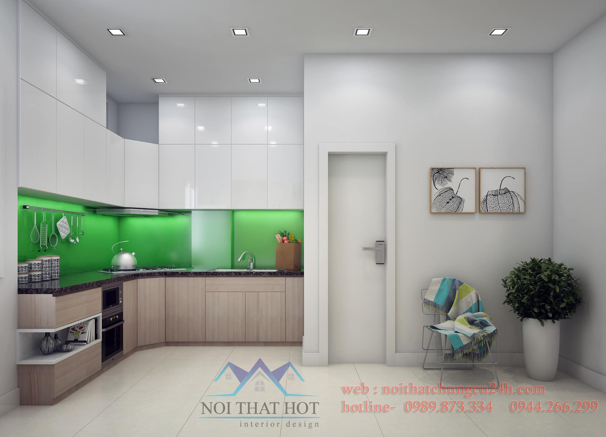 thiết kế nội thất chung cư có phòng bếp xanh