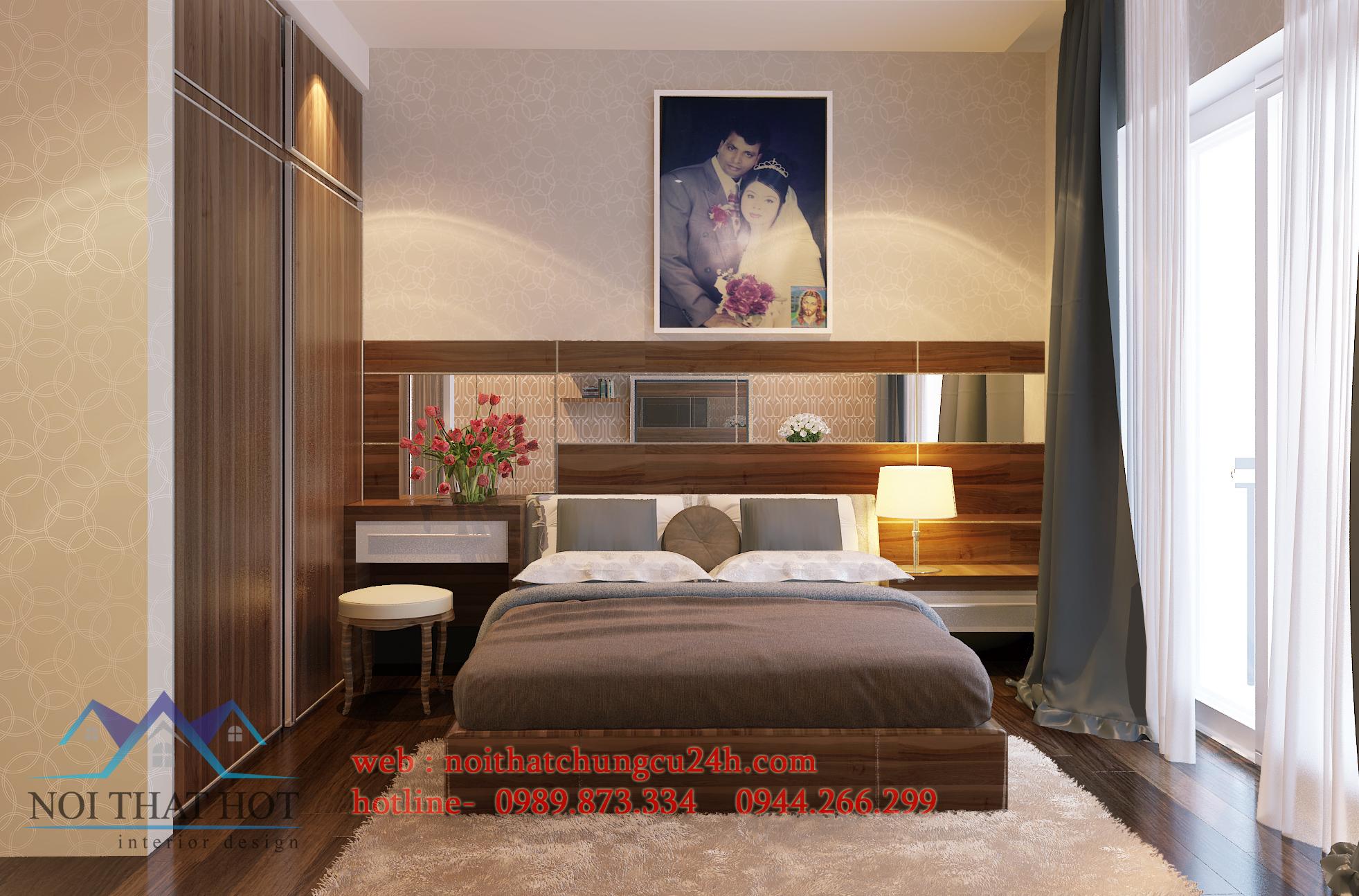 thiết kế nội thất căn hộ chung cư với phòng ngủ đẹp