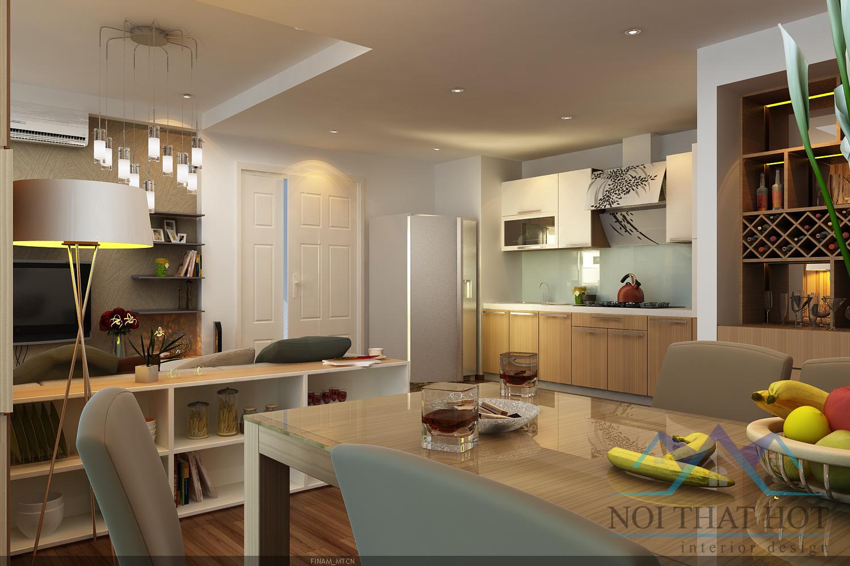 thiết kế chung cư liền phòng bếp