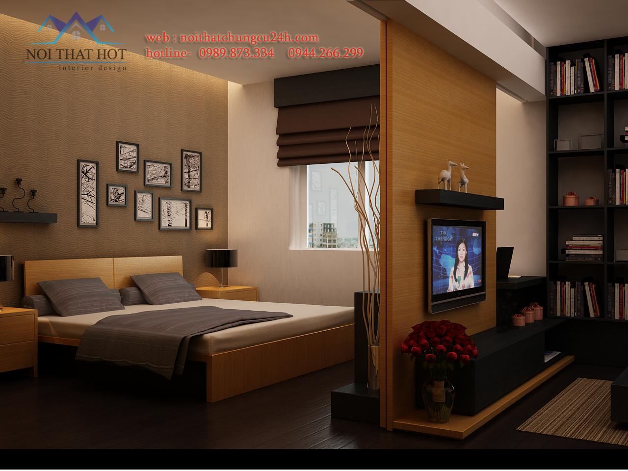 Phòng ngủ trong thiết kế nội thất chung cư hiện đại