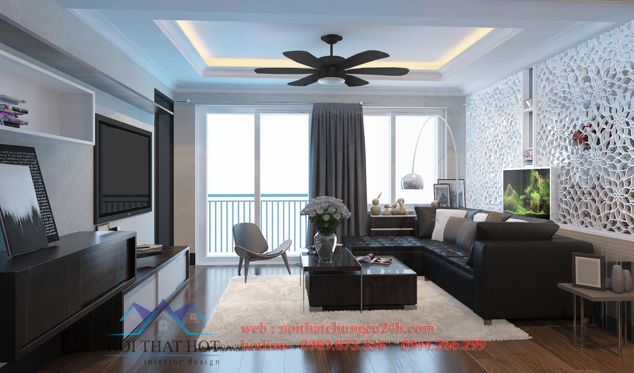 thiết kế nội thất phòng khách căn hộ chung cư