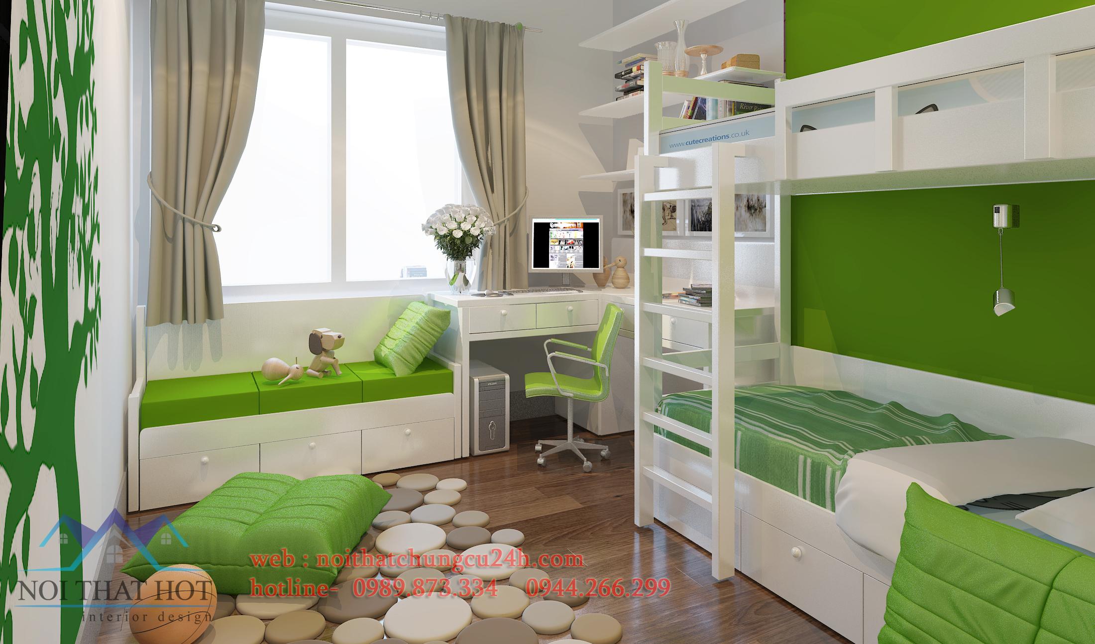 thiết nội thất căn hộ chung cư cao cấp phòng ngủ trẻ em