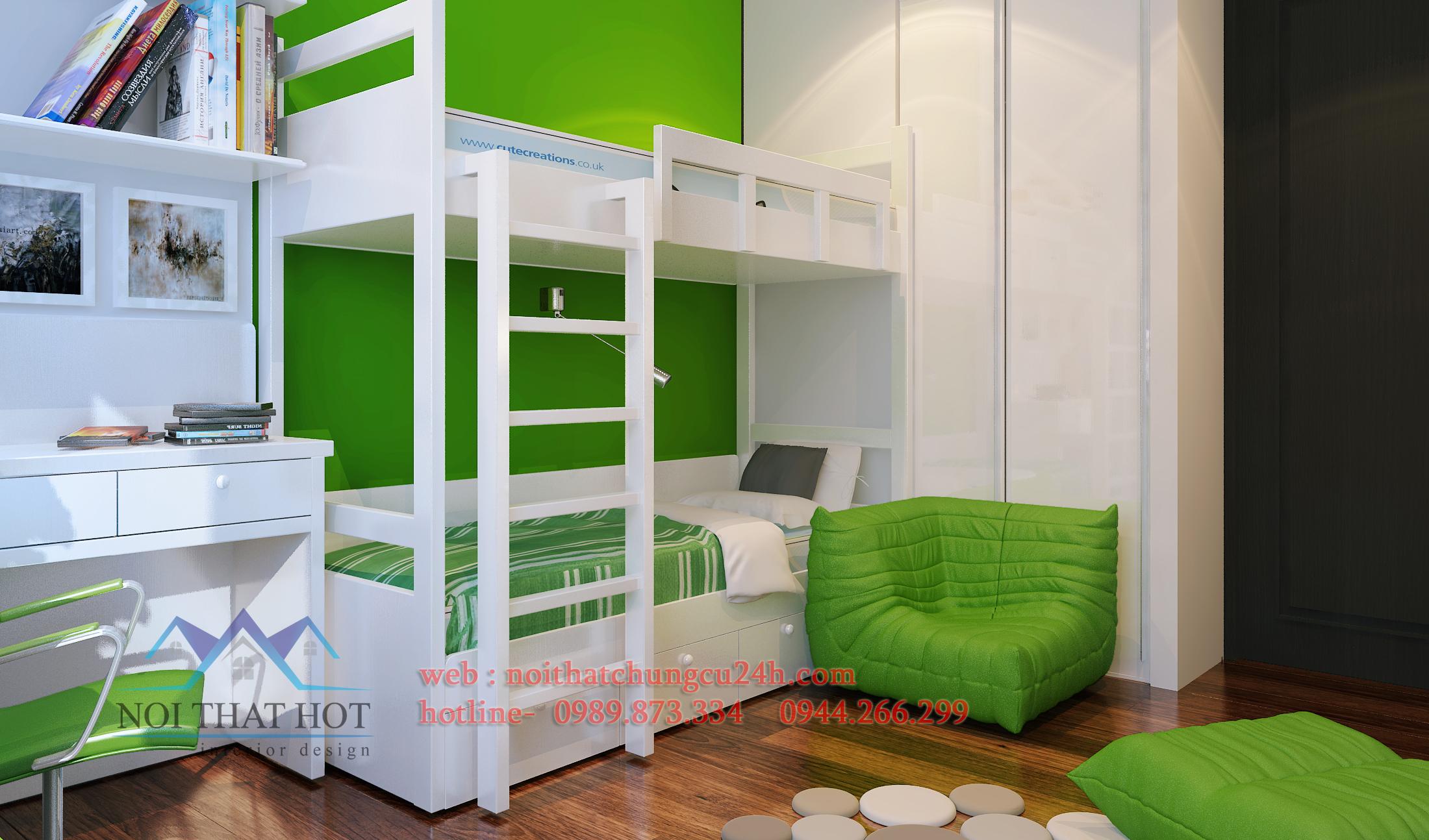 thiết kế phòng ngủ căn hộ chung cư cao cấp
