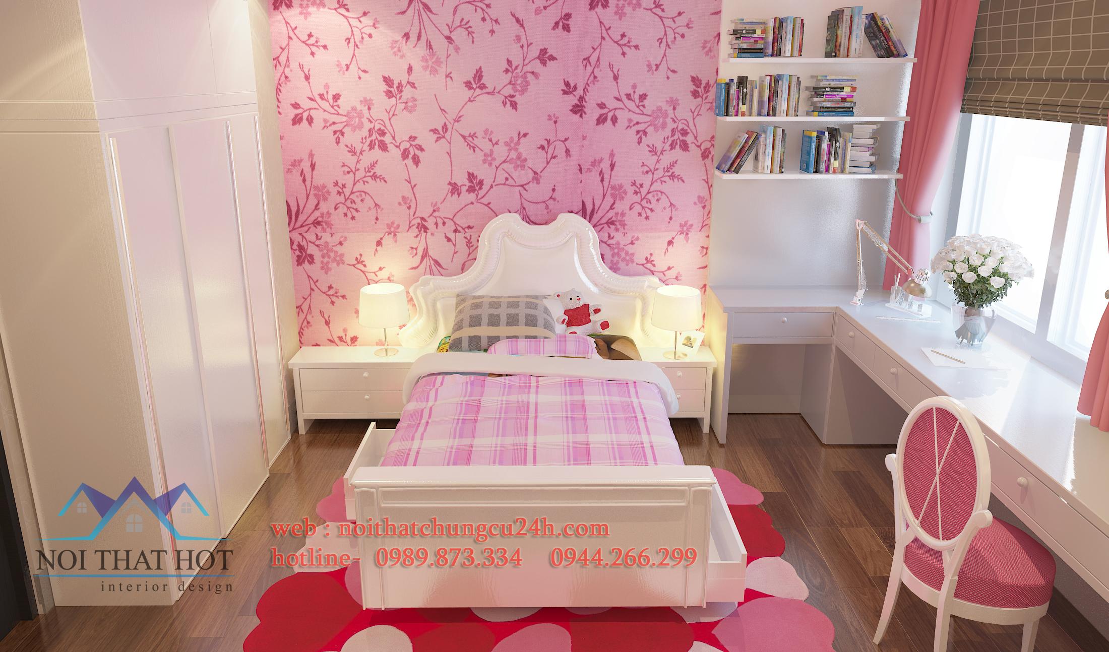 thi công thiết kế căn hộ chung cư hoàn thiện phòng ngủ bé gái