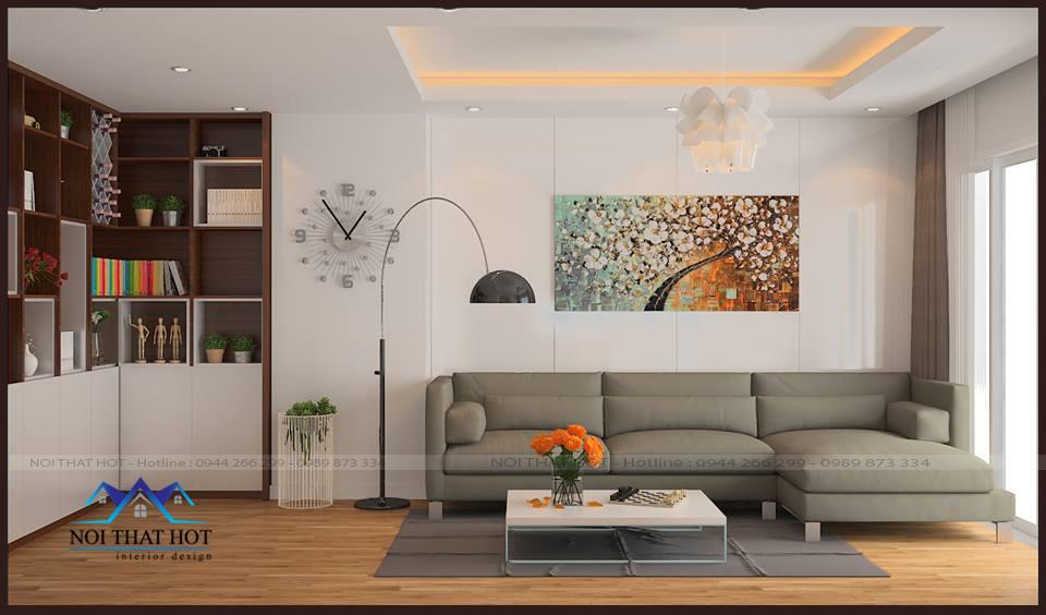 thiết kế nội thất phòng khách, thiết kế căn hộ chung cư 70m2