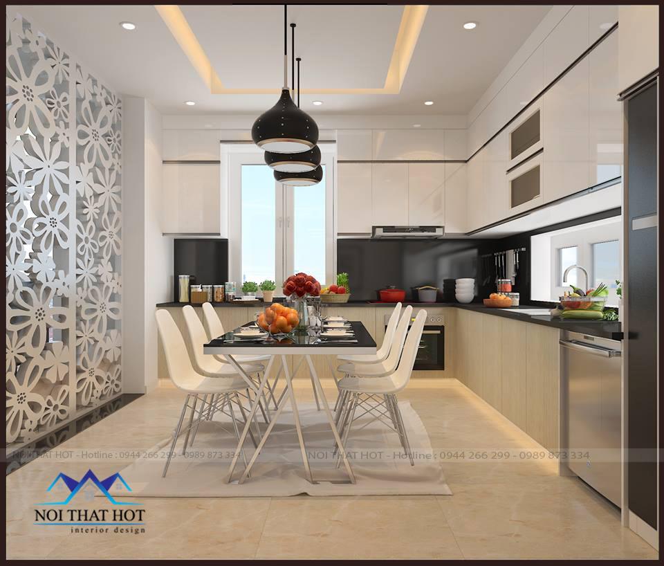 thiết kế bếp ăn gia đình, thiết kế căn hộ chung cư 70m2 đẹp và hiện đại