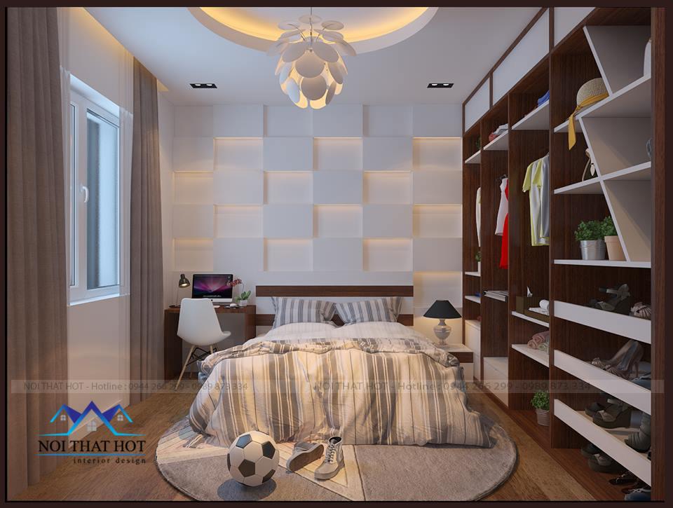 thiết kế căn hộ chung cư chất lượng cao, thiết kế phòng ngủ ấm áp
